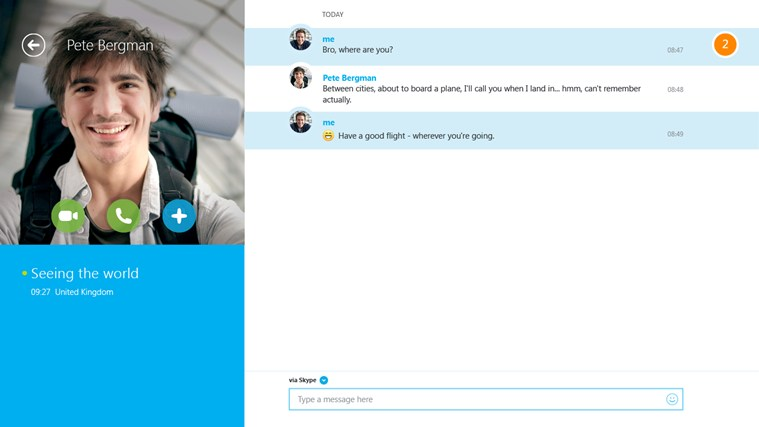 Exchange instant messages with all your Skype, Messenger and Outlook.com contacts.