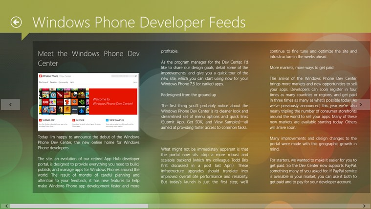 Windows Phone Developer Feeds screen shot 1