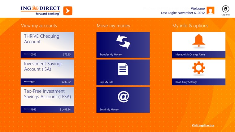 ING DIRECT Canada screen shot 1