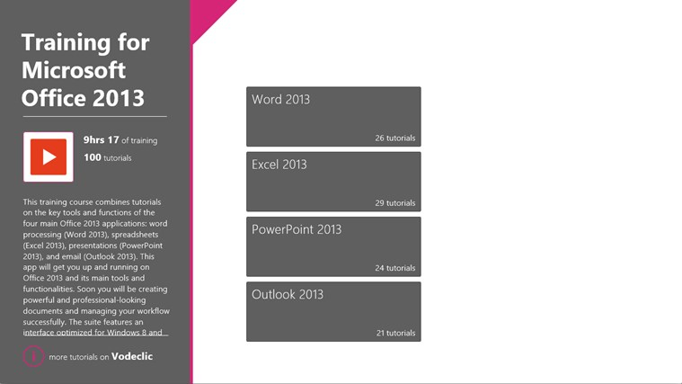 Training for Microsoft Office 2013 by Vodeclic screenshot 1