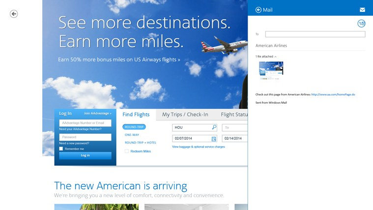 American Airlines screen shot 1