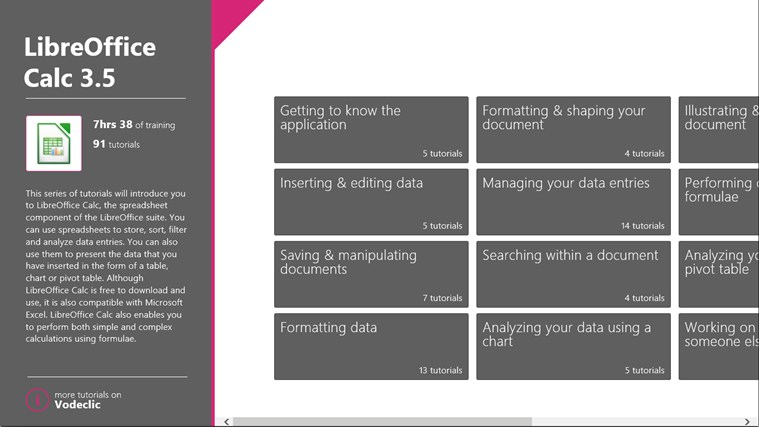 LibreOffice Calc Training skærmbillede 1