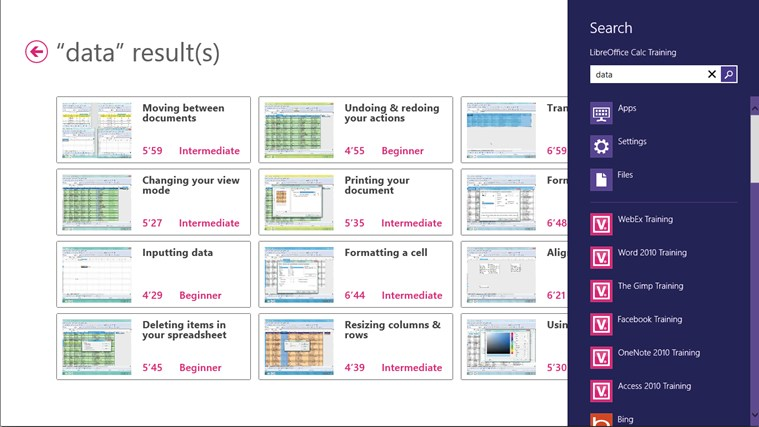 LibreOffice Calc Training skærmbillede 5