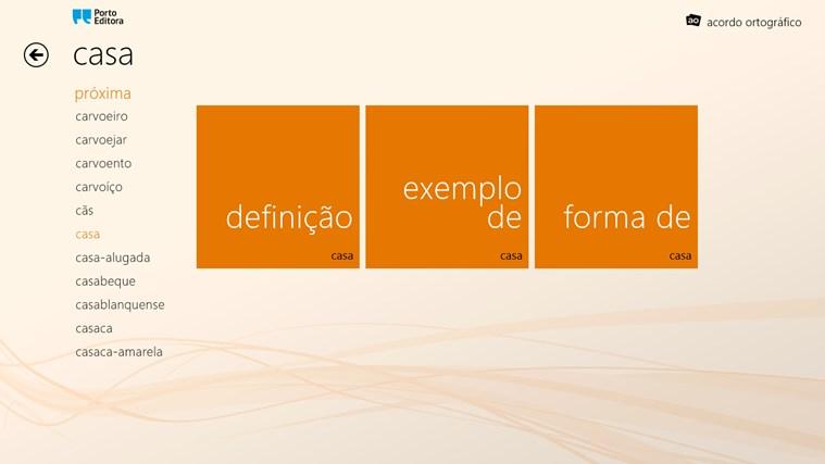 Dicionário da Língua Portuguesa Porto Editora captura de ecrã 1