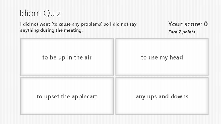 Idiom quiz screen shot 1