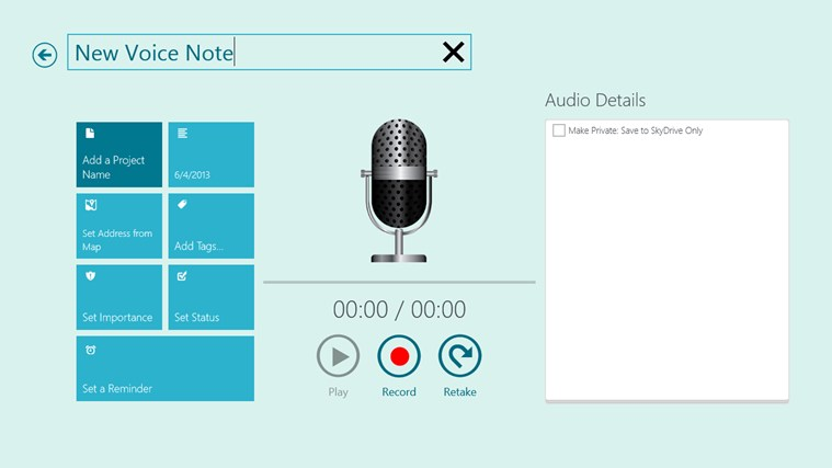 Voice Notes for SkyDrive screen shot 1