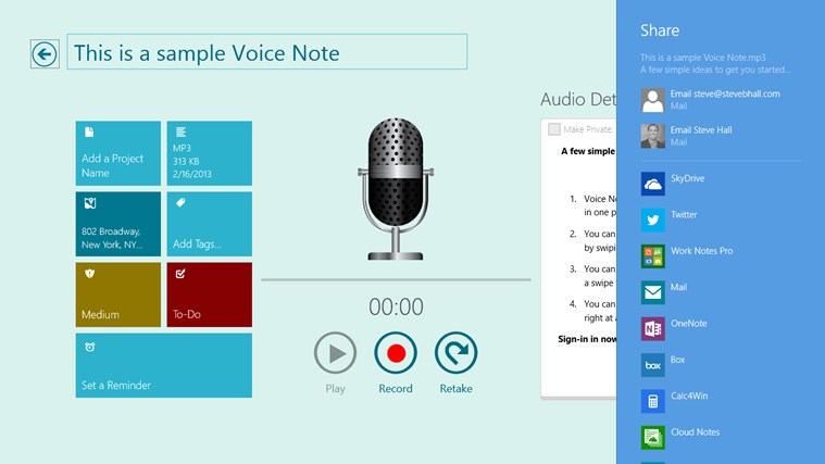 Voice Notes for SkyDrive screen shot 3