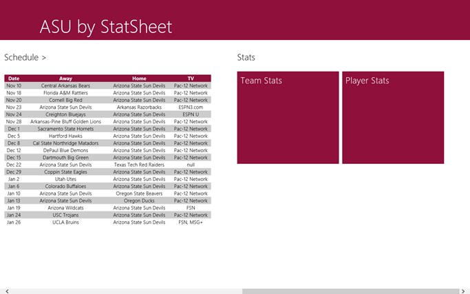 ASU Sun Devils by StatSheet screen shot 1