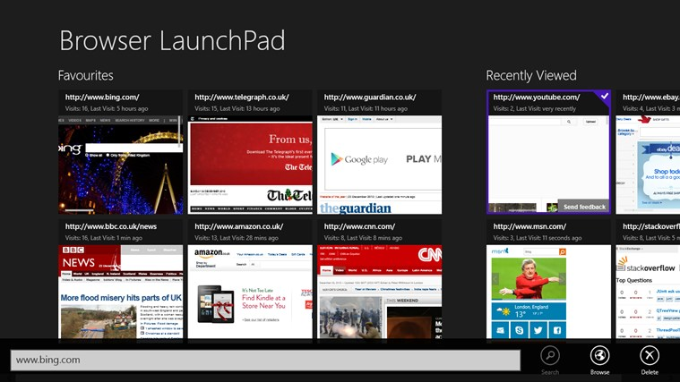 Browser LaunchPad screen shot 1