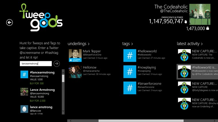 tweepgods screen shot 3