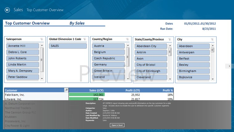 Jet Reports Player for Microsoft Dynamics® NAV screen shot 1