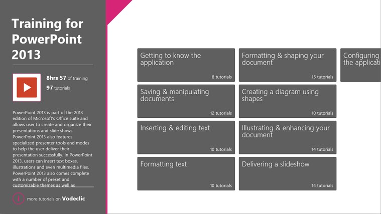 Training for PowerPoint 2013 by Vodeclic screenshot 1