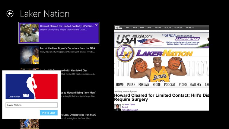 NBA RSS Feed screen shot 1