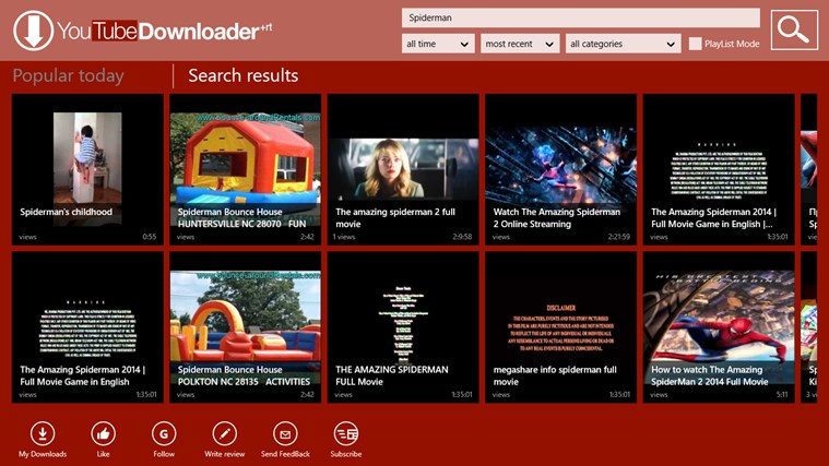 YouTube Downloader Plus RT screen shot 1