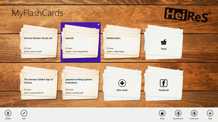 MyFlashCards screen shot 1