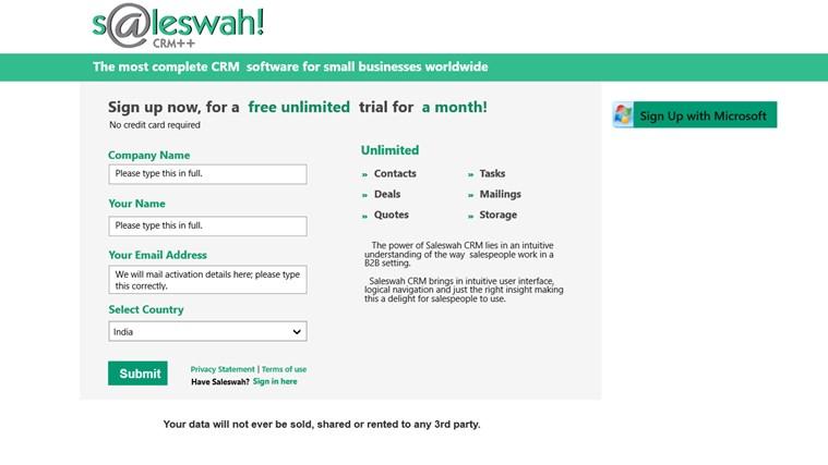 Saleswah Lite CRM screen shot 5