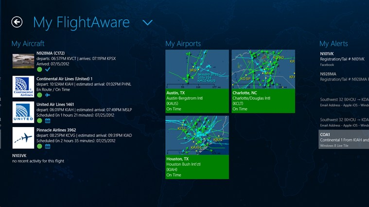 FlightAware screen shot 1
