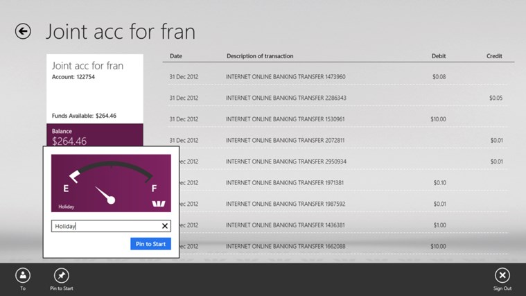 Westpac Banking for Windows 8 screen shot 3