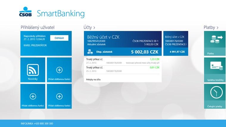 ČSOB SmartBanking snímek obrazovky 1