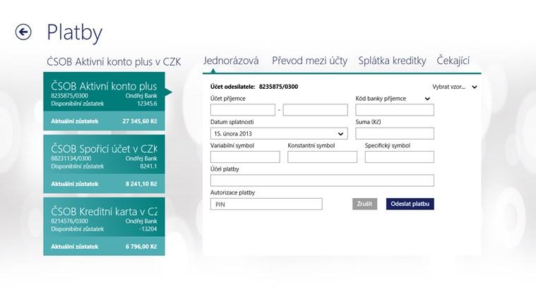 ČSOB SmartBanking snímek obrazovky 3