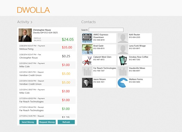Dwolla screen shot 1