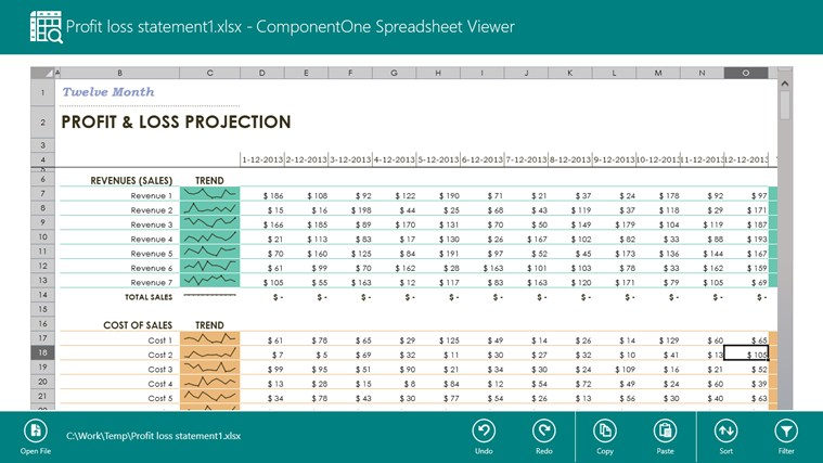 ComponentOne Spreadsheet Viewer screen shot 7