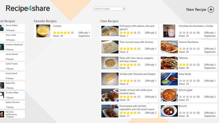 Recipe4share screen shot 1