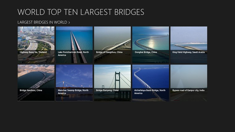WORLD TOP TEN LARGEST BRIDGES screen shot 1