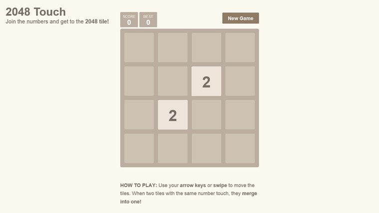 2048 Touch screen shot 1