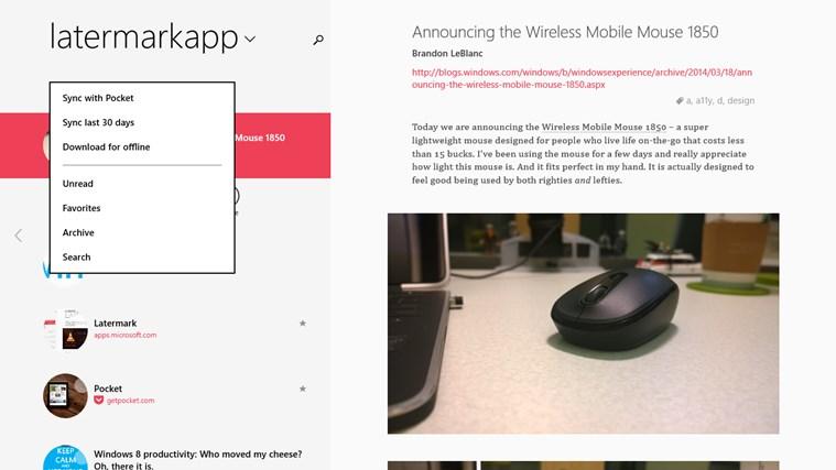 Screenshot.247724.1000000 Latermark: Pocket auf Windows 8 & Windows RT nutzen