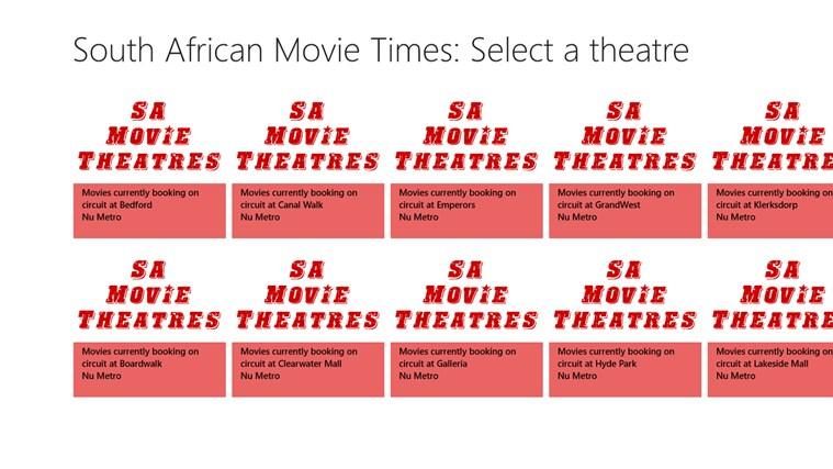 South African Movie Times skermskoot 1