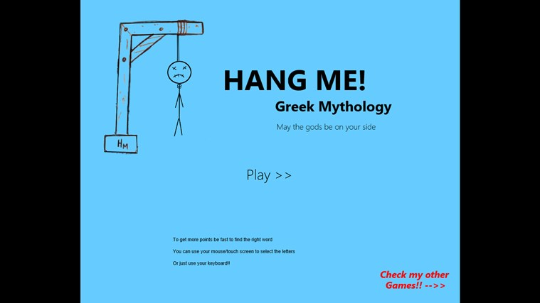 Hang Me Greek Mythology screen shot 1