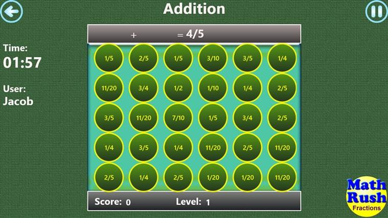 Math Rush Fractions screen shot 3