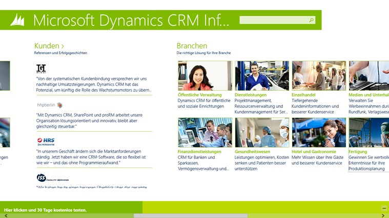Microsoft Dynamics CRM Infocenter Screenshot 1