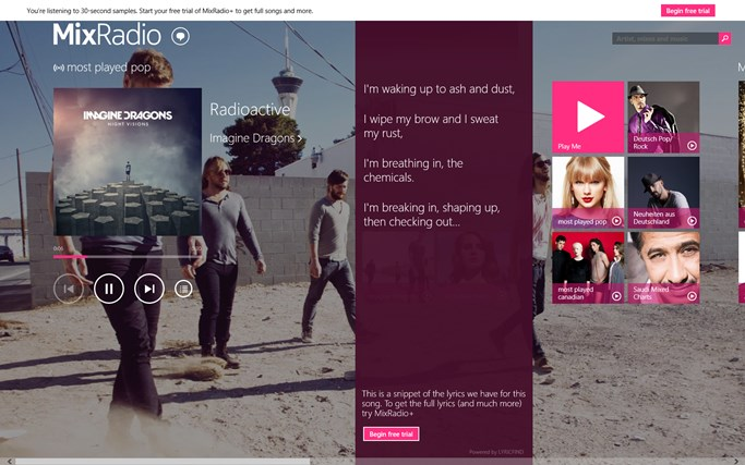 MixRadio screen shot 3