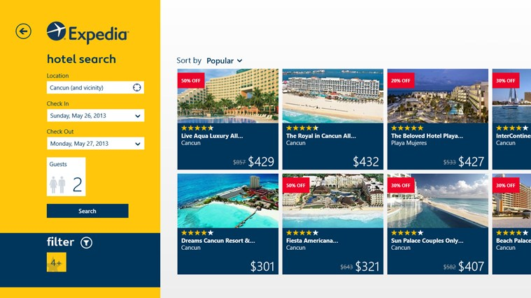 Expedia screen shot 1