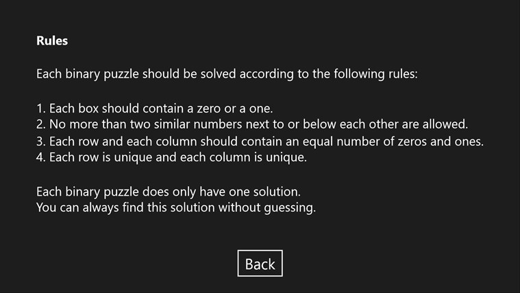 Binary Puzzle screen shot 1