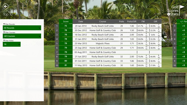 Golf Scores + Stats screen shot 7