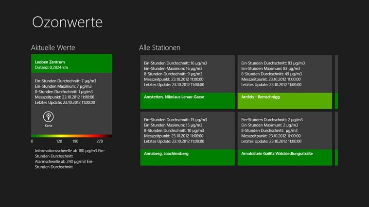 Ozonwerte Österreich Screenshot 1