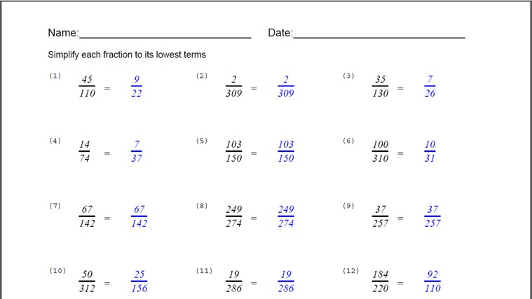 Simplify Fraction Worksheet screen shot 3