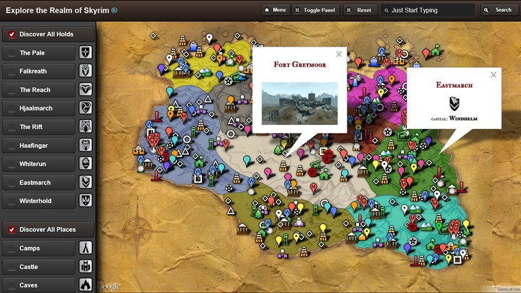 Skyrim Map HD screen shot 1