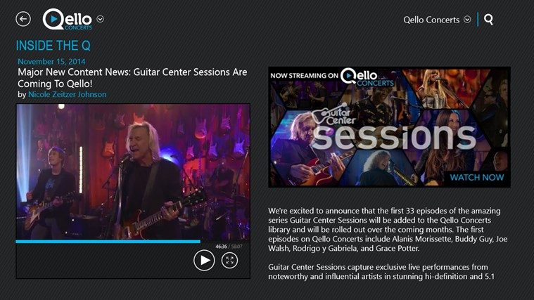 Qello Concerts screen shot 3