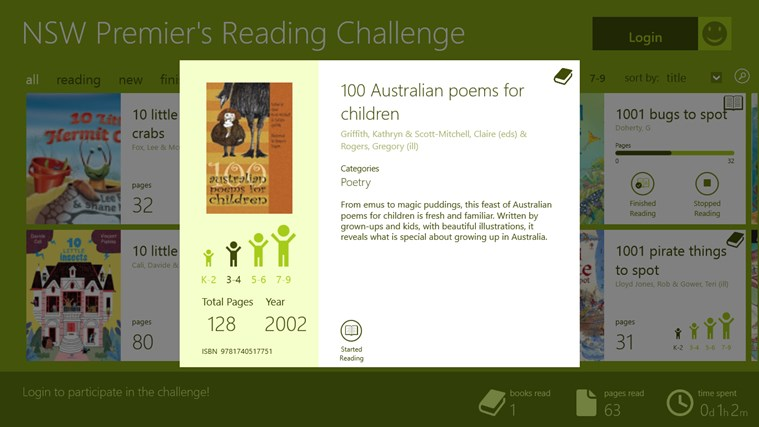 NSW Premier's Reading Challenge Preview screen shot 1
