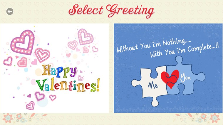 Valentine's Greetings screen shot 1