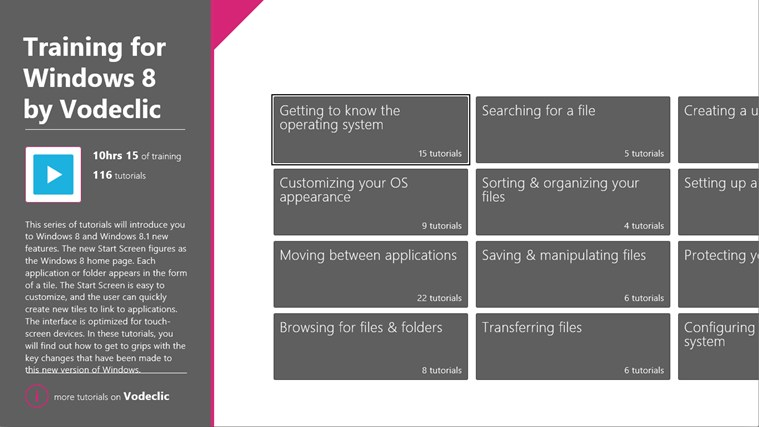 Training for Windows 8 by Vodeclic screen shot 1
