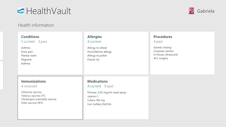 HealthVault screen shot 1