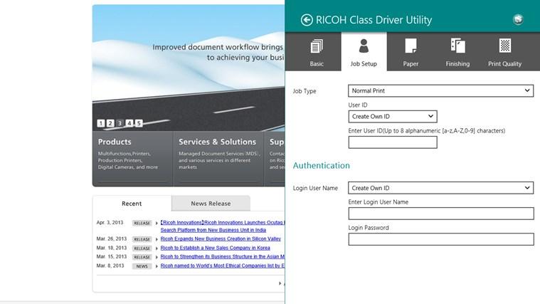 RICOH Class Driver Utility screen shot 1