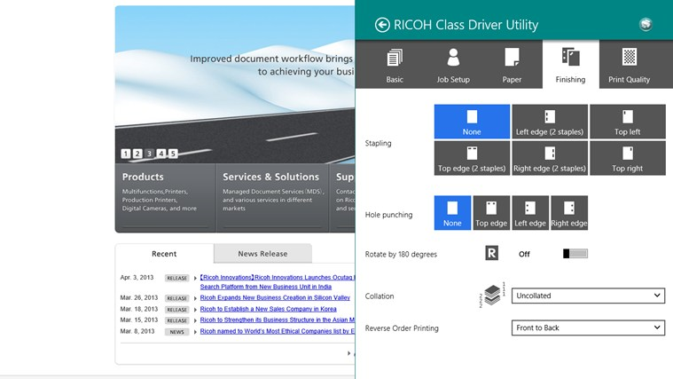 RICOH Class Driver Utility screen shot 3