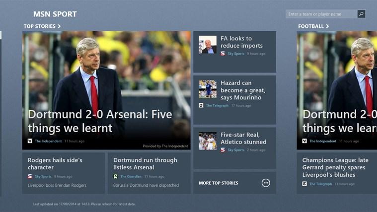 MSN Sport screen shot 1