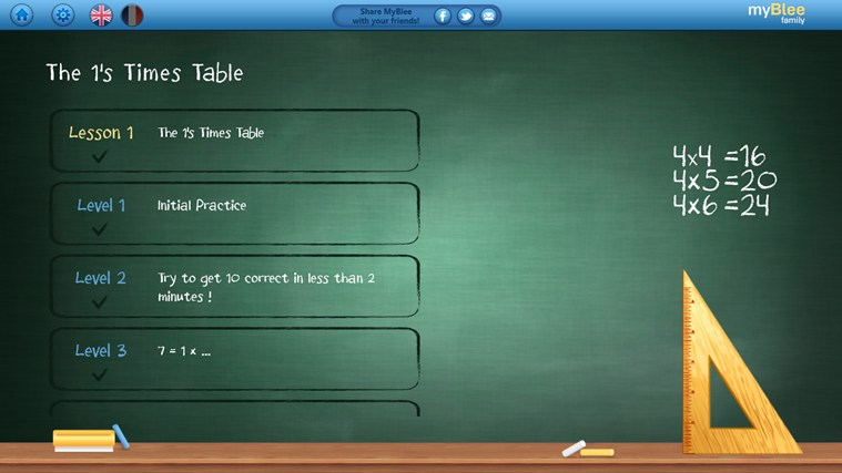 Multiplication Tables - myBlee screen shot 1